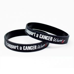 "1/2"" Silicone Color-filled I Support A Cancer Warrior Wristbands"
