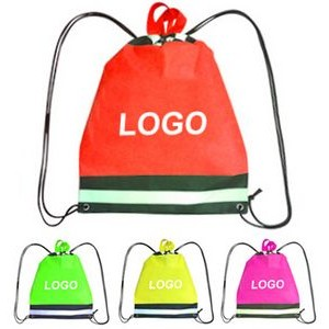 Non-woven Drawstring Backpack With Reflective Strip