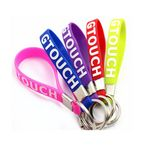 Custom Silicone Wristband keychain With Metal Ring