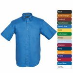 Custom Men's 100 percent Cotton Premium Twill Short Sleeve Shirt