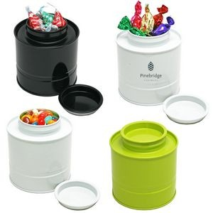 Asian Style Round Tin Canister Box w/ Chocolate Kisses