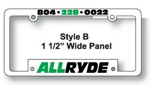 Polypropylene Plastic Automobile License Frames w/1 1/2 Wide Panel