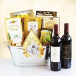 Custom Classic Wine Duo and Snacks Gift Tub