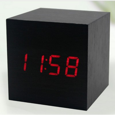 Wooden Cube Digital Red LED Light Mute Alarm Clock