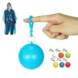 PPE Disposable Raincoat Poncho Ball with KeyChain
