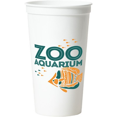 32 Oz. Smooth White Stadium Cup (2 Color Offset Printed)