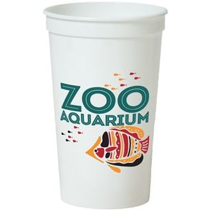 22 Oz. Smooth White Stadium Cup (4 Color Offset Printed)