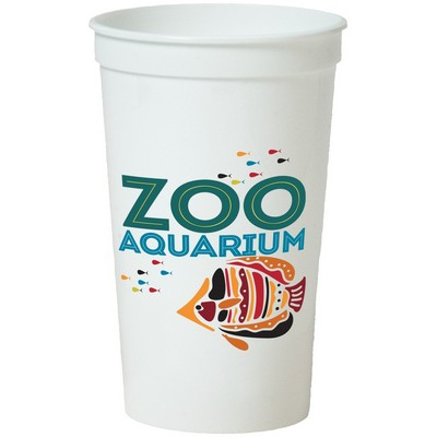 22 Oz. Smooth White Stadium Cup (8 Color Offset Printed)