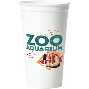 32 Oz. Smooth White Stadium Cup (4 Color Offset Imprint)