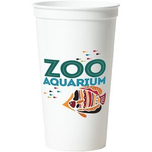 32 Oz. Smooth White Stadium Cup (8 Color Offset Printed)
