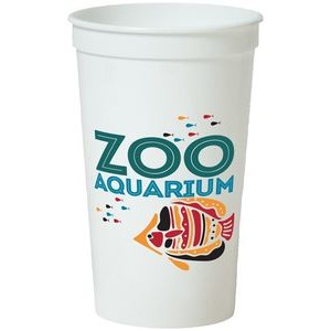 22 Oz. Smooth White Stadium Cup (5 Color Offset Printed)