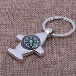 Custom Plane Shaped Bottle Opener Compass Key Chain