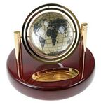 Custom Magnified Gyroscopic Globe Clock on Wooden Base