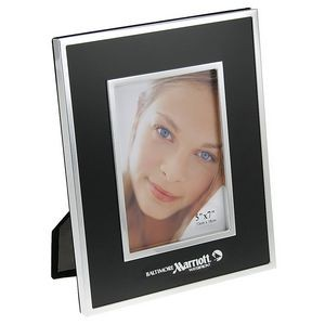 "Brushed Black Metal Picture Frame w/Chrome Trim (5""x7"")"