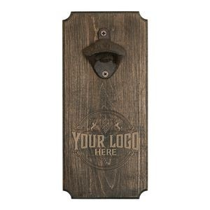 Wall Mounted Hardwood Bottle Opener with Cast Iron Opener and Magnetic Catch