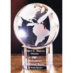 Custom Medium Crystal Globe Award w/ Beveled Base