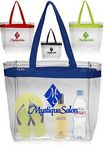 Custom 12W x 11H inch Color Handles Clear Plastic Tote Bags