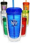 Custom Econo 16 Oz. Double Wall Tumbler With Lid And Straw
