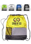 Custom 15W X 18H inch Front Pocket Drawstring Backpacks