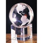 Custom Small Crystal Globe Award w/ Beveled Base