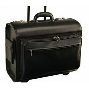 "Executive Rolling 15"" Laptop Briefcase Bag Handcrafted in Genuine Leather"