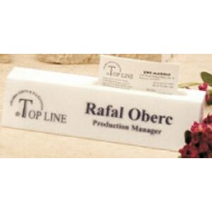 "White Genuine Marble Executive Name Block & Card Holder (8.5"")"