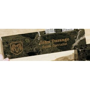"Green Genuine Marble Executive Name Block & Card Holder (10"")"