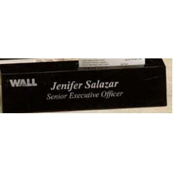 "Black Genuine Marble Executive Name Block & Card Holder (8.5"")"