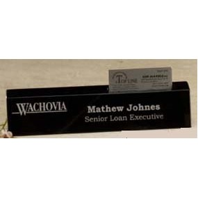 "Black Genuine Marble Executive Name Block & Card Holder (10"")"
