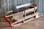 Custom Wooden Baby Sled with Steel Runners