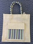 Custom New Style Top Pocket Zipper Jute Bag with side pocket