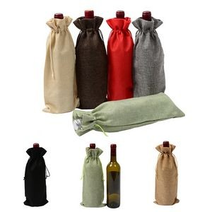 Dust-Proof Mouth Linen Wine And Champange Bottle Drawstring Bag