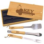 Custom Engraved Maple 3 Piece Barbecue Grill Set