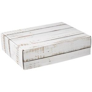 Distressed White Wood Decorative Corrugated Mailer - 12 x 9 x 3