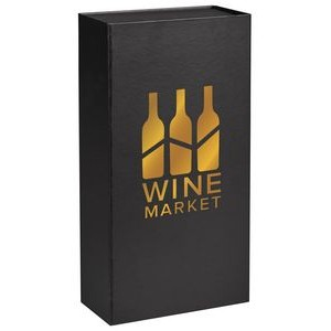 Black Magnetic Closure Wine Gift Box - Two Bottle w/ Insert