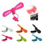 Custom Mini Cellphone Fan and Android,2-in-1 USB Mobilephone Fan