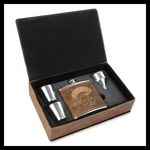 Custom Leatherette Stainless Steel Flask 4 pc Gift Set, Rustic