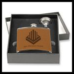 Custom Stainless Steel Flask 2 pcs Gift Set, Brown Leather