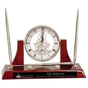 Executive Rosewood Piano Finish Clock/Desk Set