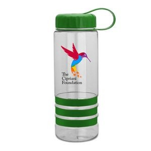 24 oz. DP Tritan� Salute-2 Sports Bottle - Grip Stripes with Tethered Lid
