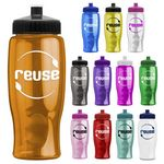 Custom 27 Oz. Poly-Pure Transparent Bottle - Push Pull Lid