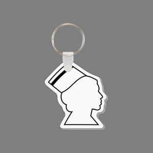 Key Ring & Punch Tag - Nurse's Head With Cap (Right Side Profile Outline)