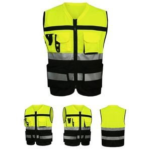 High Visibility Zipper Front Safety Vest