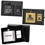 Custom Deluxe 5 Oz. Flask and Oil Flip Top Lighter Gift Set