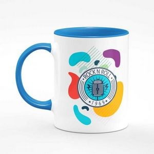 11 oz. White Ceramic Coffee Mug with Colored Inside/Handle - Sublimation