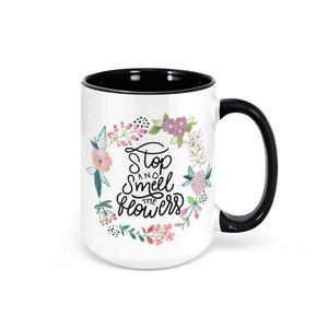15 oz. White Ceramic Coffee Mug with Colored Inside/Handle- Sublimation
