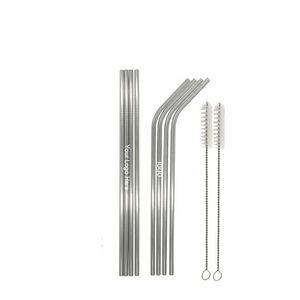 Silver Straight bent Stainless Steel Straw With Brush