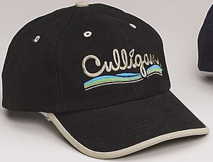 Heavy Brushed Twill Cap w/ Contrast Roll-Over Visor
