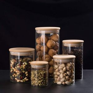 "Glass Jars with Sustainable Bamboo Lids 4""dia"