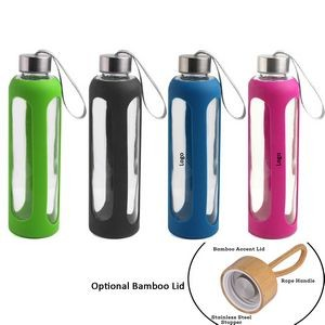 Silicone sleeve insulated Glass bottle 18.5oz